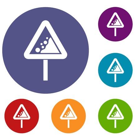 beware: Falling rocks warning traffic sign icons set. Vector illustration.