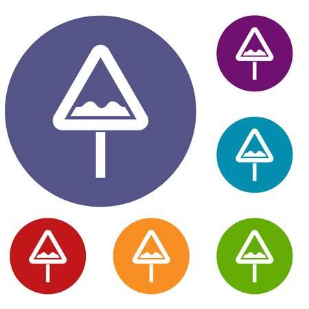 beware: Uneven triangular road sign icons set. Vector illustration.