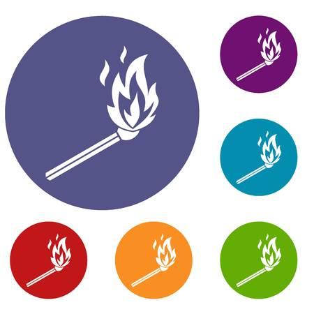 Match flame icons set.