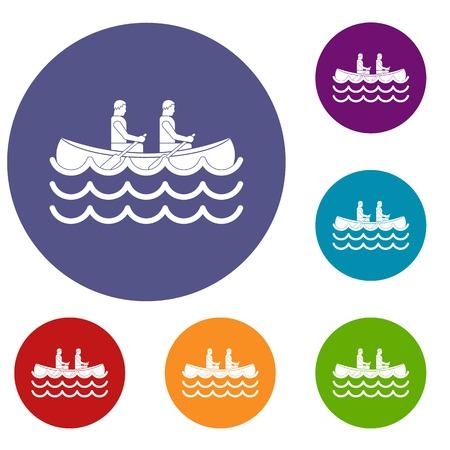 team effort: Canoeing icons set Illustration