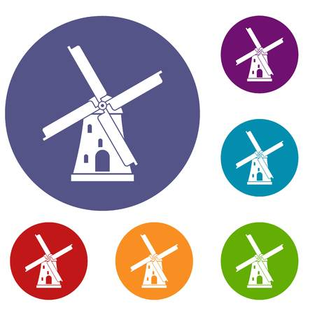 farmstead: Ancient windmill icons set