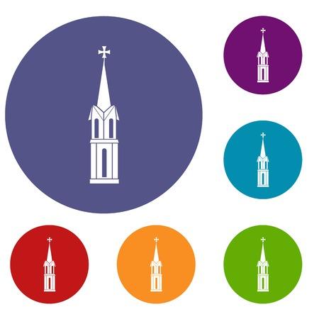 pastor: Church icons set Illustration