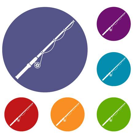 Rod and reel icons set
