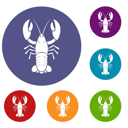 Crawfish icons set