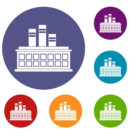 Oil refinery plant icons set