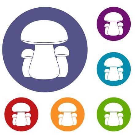 pareja comiendo: Mushroom icons set