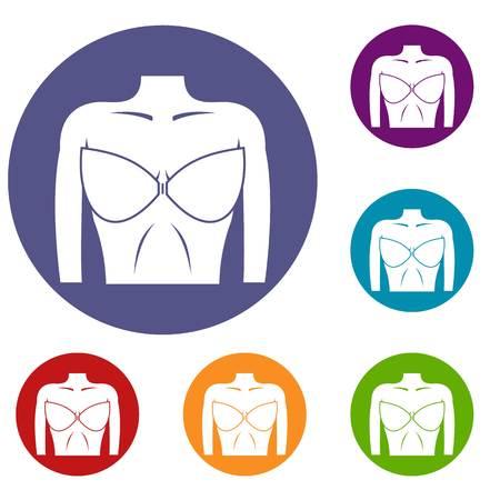ブラのアイコン セットの女性の胸