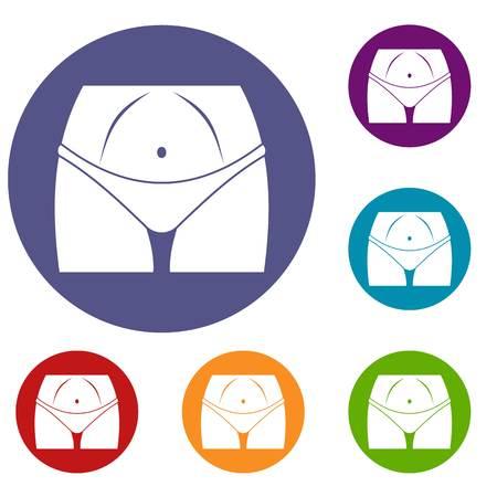 Slim woman body in panties icons set Illustration