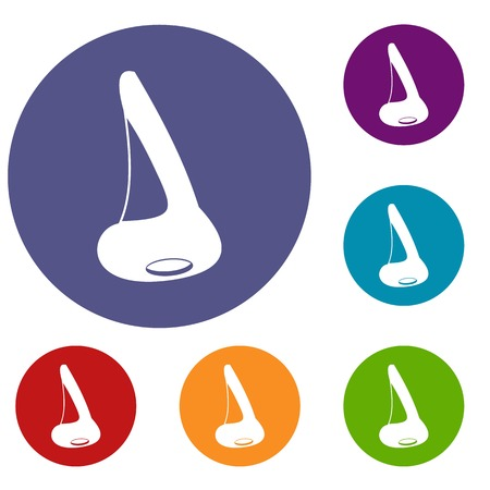 Nose side view icons set Illustration