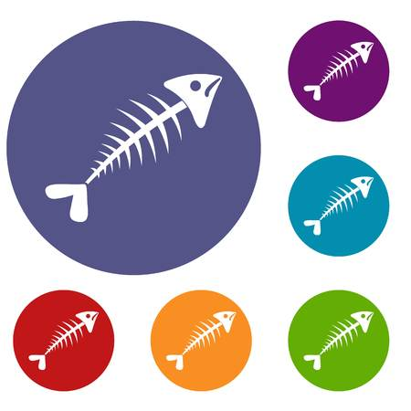 Fish bone icons set