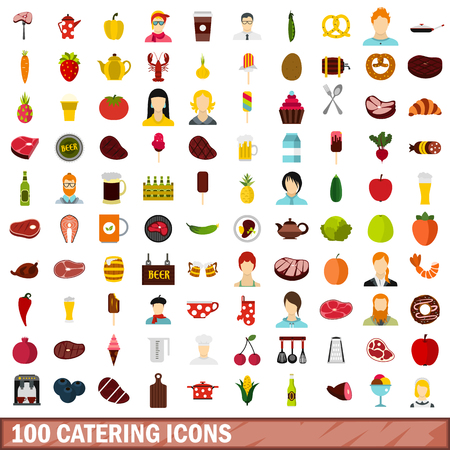 grater: 100 catering icons set, flat style Illustration