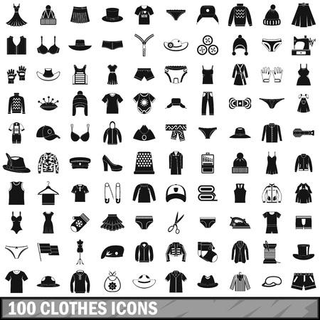Set de 100 iconos de ropa, estilo simple
