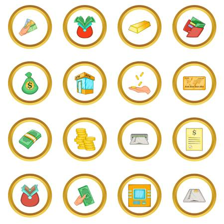 savings account: Bank loan credit icons circle gold in cartoon style isolate on white background vector illustration Illustration