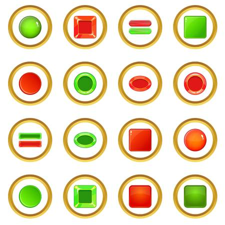 Blank web buttons icons circle Illustration