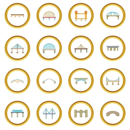 Bridge construction icons circle