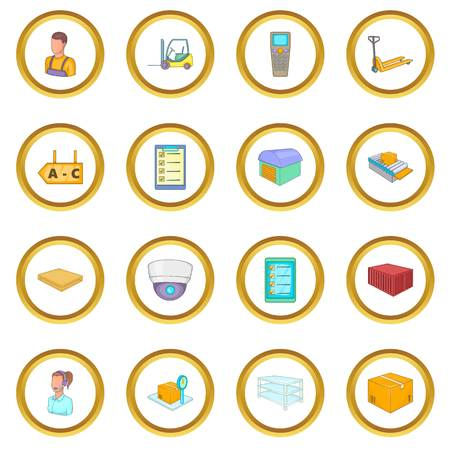 Warehouse store icons circle Иллюстрация