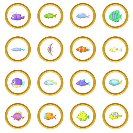 Different fish icons circle Illustration