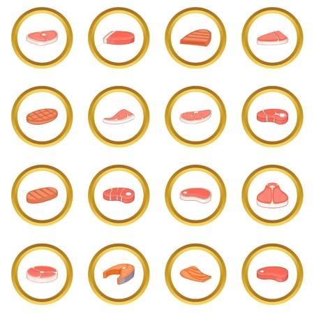 Steak icons circle Illustration