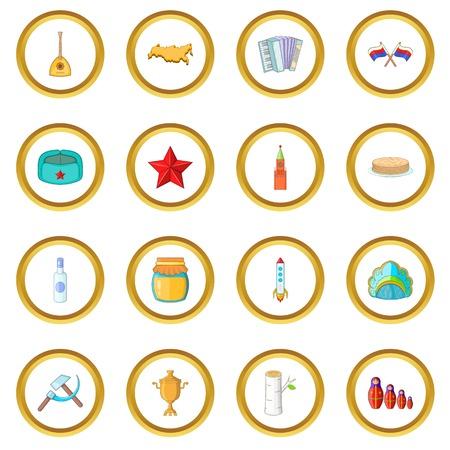 Russia icons circle Illustration