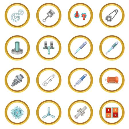automatic transmission: Mechanism parts icons circle Illustration