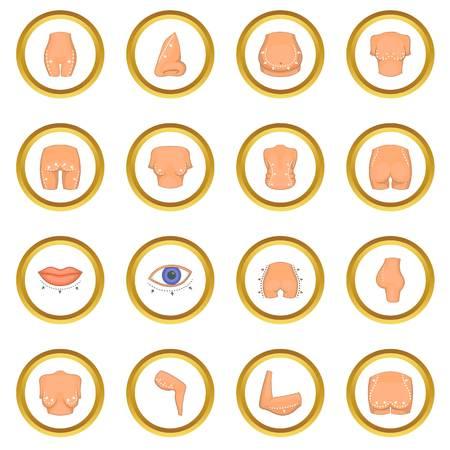 Plastic surgeon icons circle Illustration