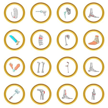 Orthopedic and spine icons circle Illustration