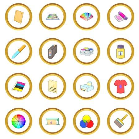 Print process icons circle