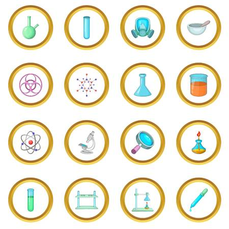 Chemical lab icons circle Illustration