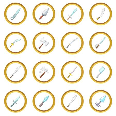 cold war: Steel arms knife icons circle gold in cartoon style isolate on white background vector illustration