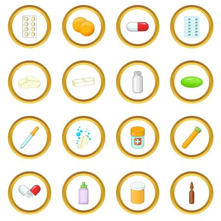 Medicine drugs icons circle Illustration