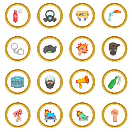 riot: Protest items icons circle Illustration