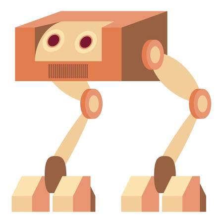 Robot ostrich icon, cartoon style