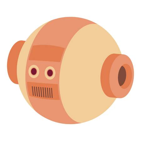 Robotic ball icon, cartoon style Illustration