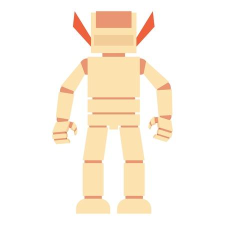 space program: Humanoid robot icon, cartoon style Illustration