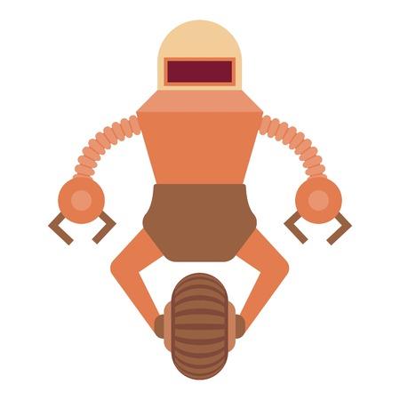 funny robot: Robot guard icon, cartoon style Illustration