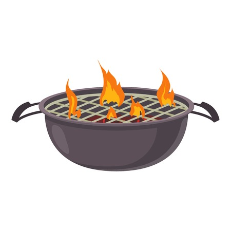 Barbecue icon, cartoon style
