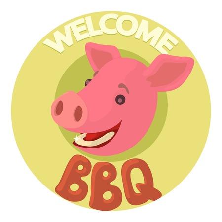 socializando: Welcome invitation to barbecue icon, cartoon style