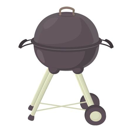 Kettle barbecue icon, cartoon style