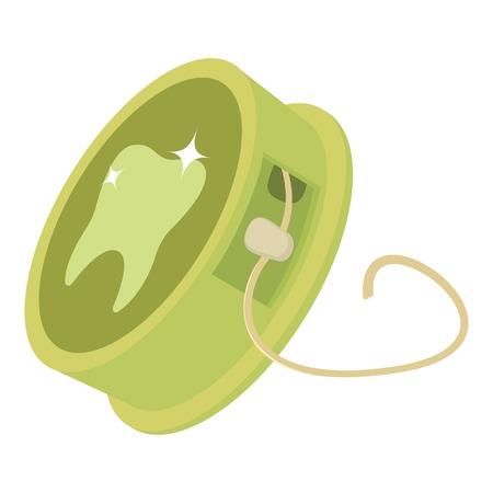 Dental floss icon, cartoon style Illustration