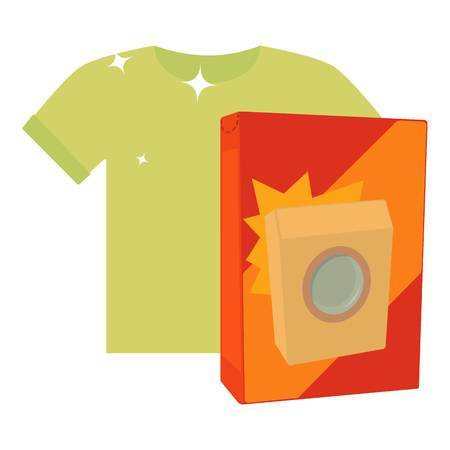 Washing powder for colored things icon, cartoon