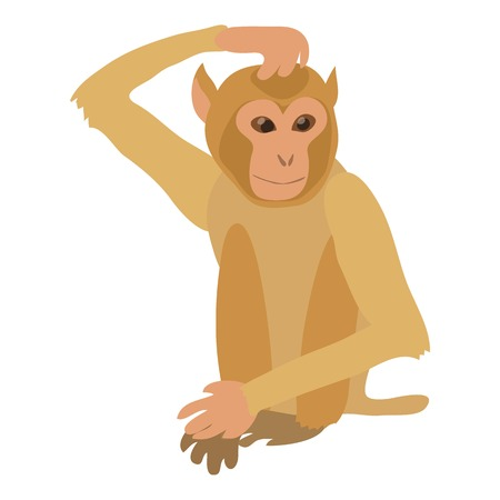 Brooding monkey icon, cartoon style