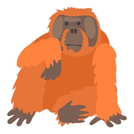 Orangutan icon, cartoon style