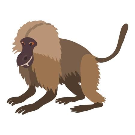 Gelada monkey icon, cartoon style Illustration