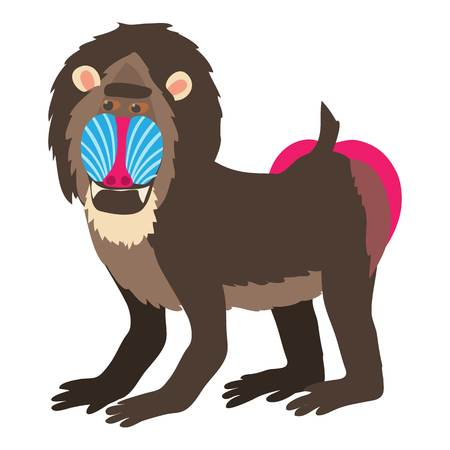 Mandrill icon, cartoon style Illustration