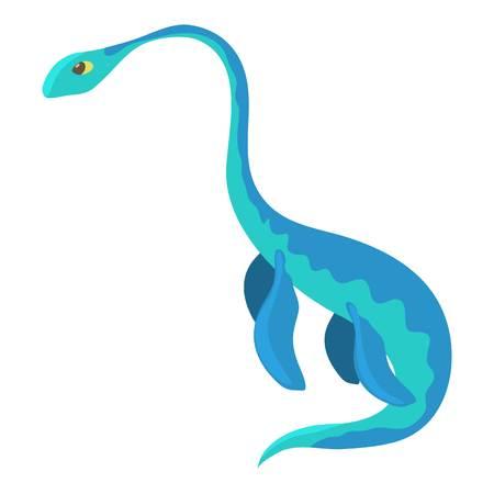 Aquatic dinosaur icon, cartoon style