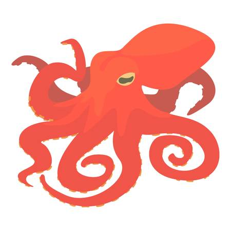 Octopus icon. Cartoon illustration of octopus vector icon for web isolated on white background