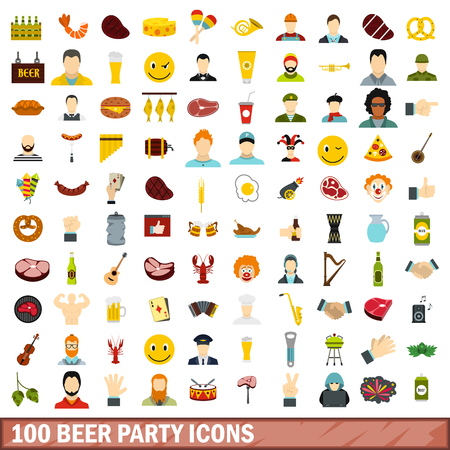 bbq barrel: 100 beer party icons set, flat style Illustration
