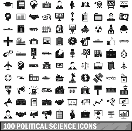 100 Political Science Icons Set Simple Style Royalty Free Cliparts