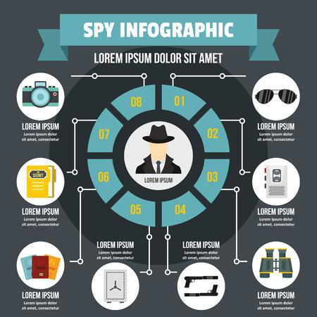 Spy infographic banner concept. Flat illustration of spy infographic vector poster concept for web 向量圖像