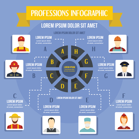 fireman: Professions infographic concept, flat style